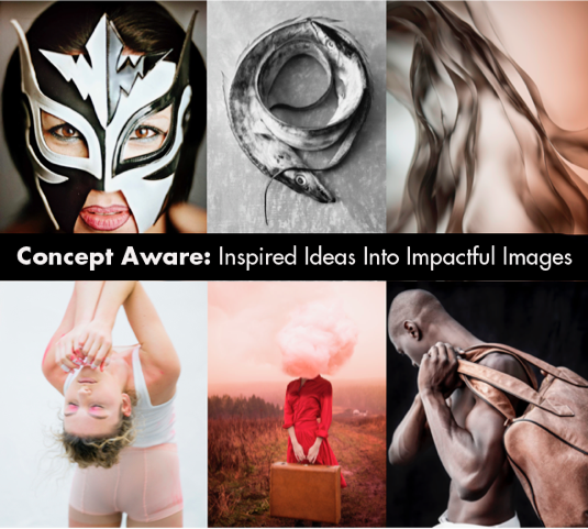 This is a promo for Concept Aware. It features a woman in a mask, a belt fish, an abstracted figure, a woman leaning back, a woman in a red dress carrying a suitcase and a cloud replaces her head and lastly a man with a leather bag over his shoulder. He is shirtless.