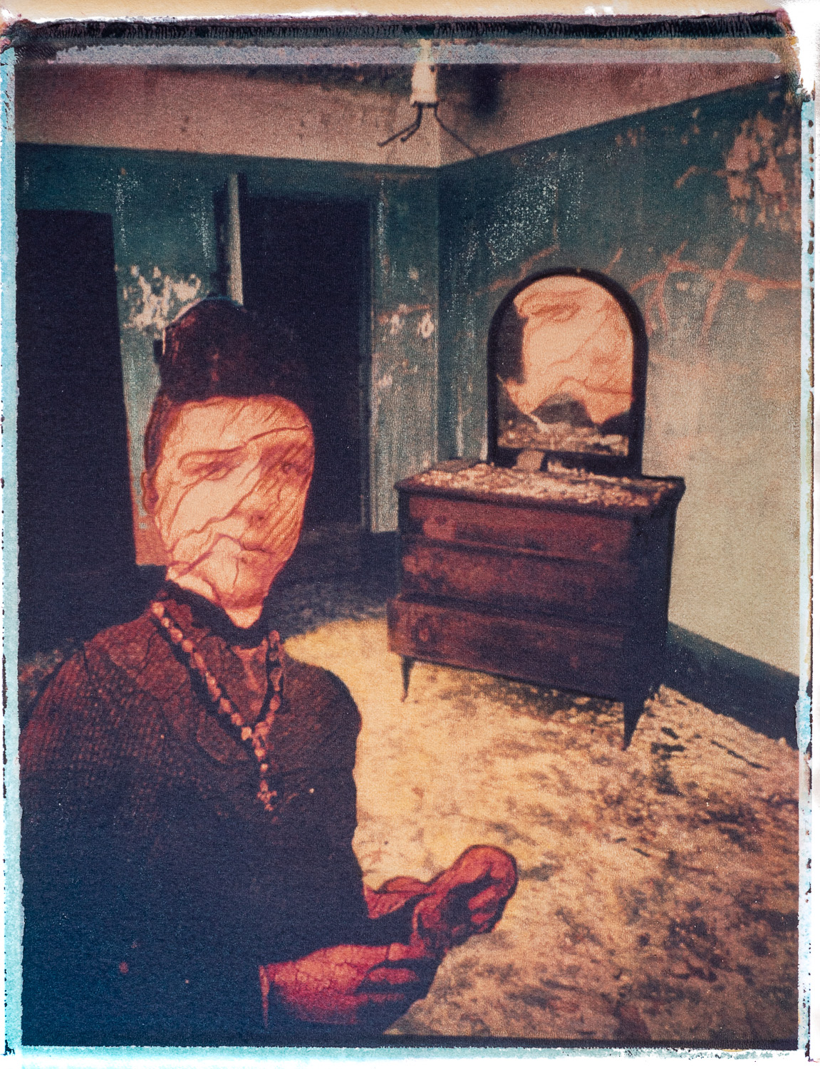 Distorted face of woman in a bedroom