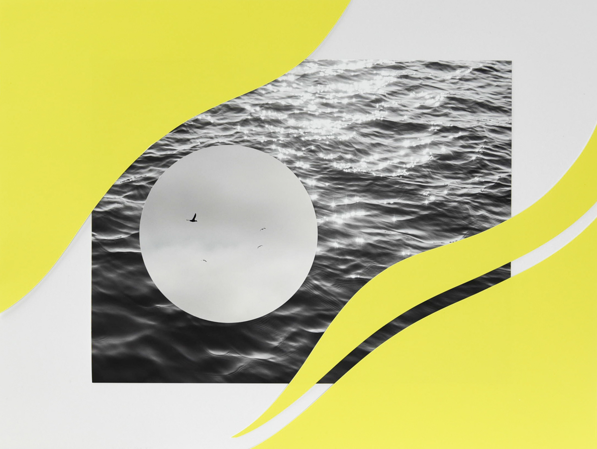 Graphic elements including the ocean in a wave shape, straddled by yellow wavy shapes. A circular shape appears overplayed on the water.