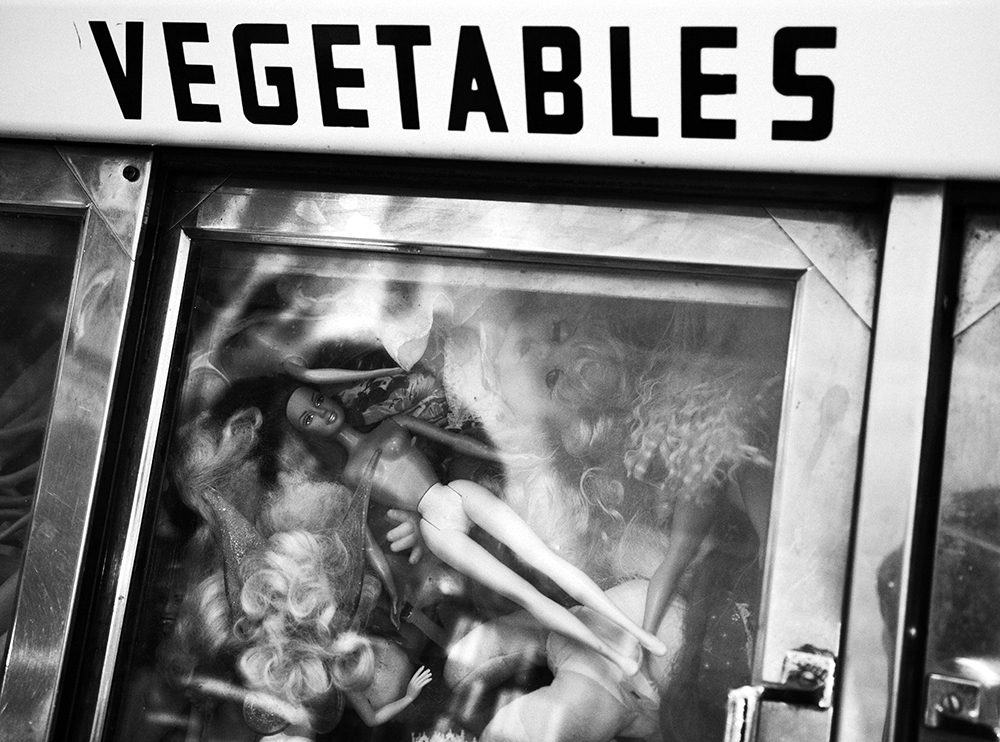 dolls in vegetable bin refrigerator