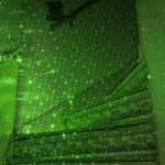 green lights on stairs