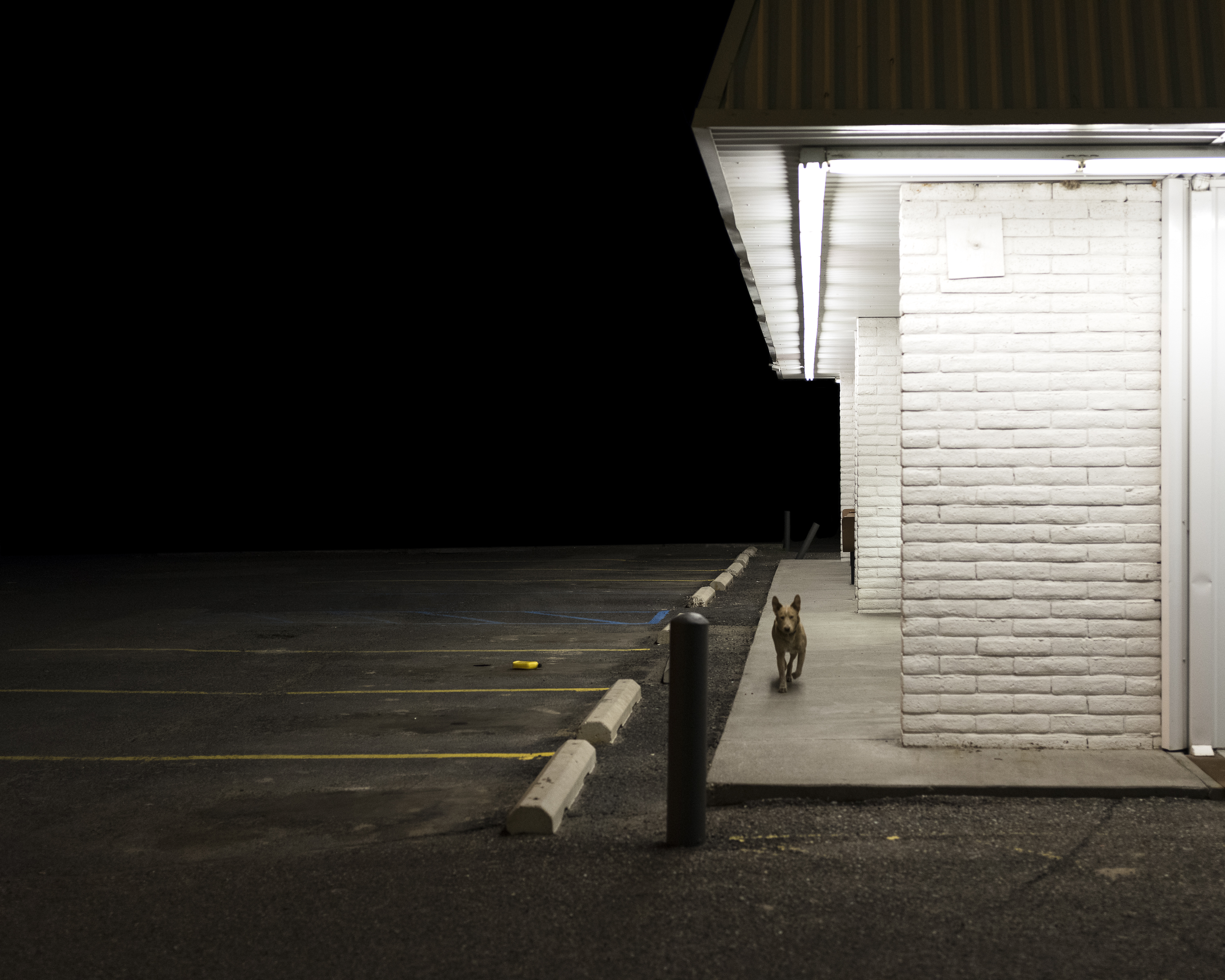 A white building at night.