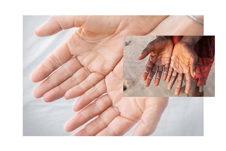 Two woman's hands and picture of hands