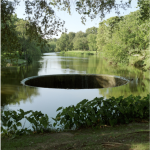 A water body with a hole.