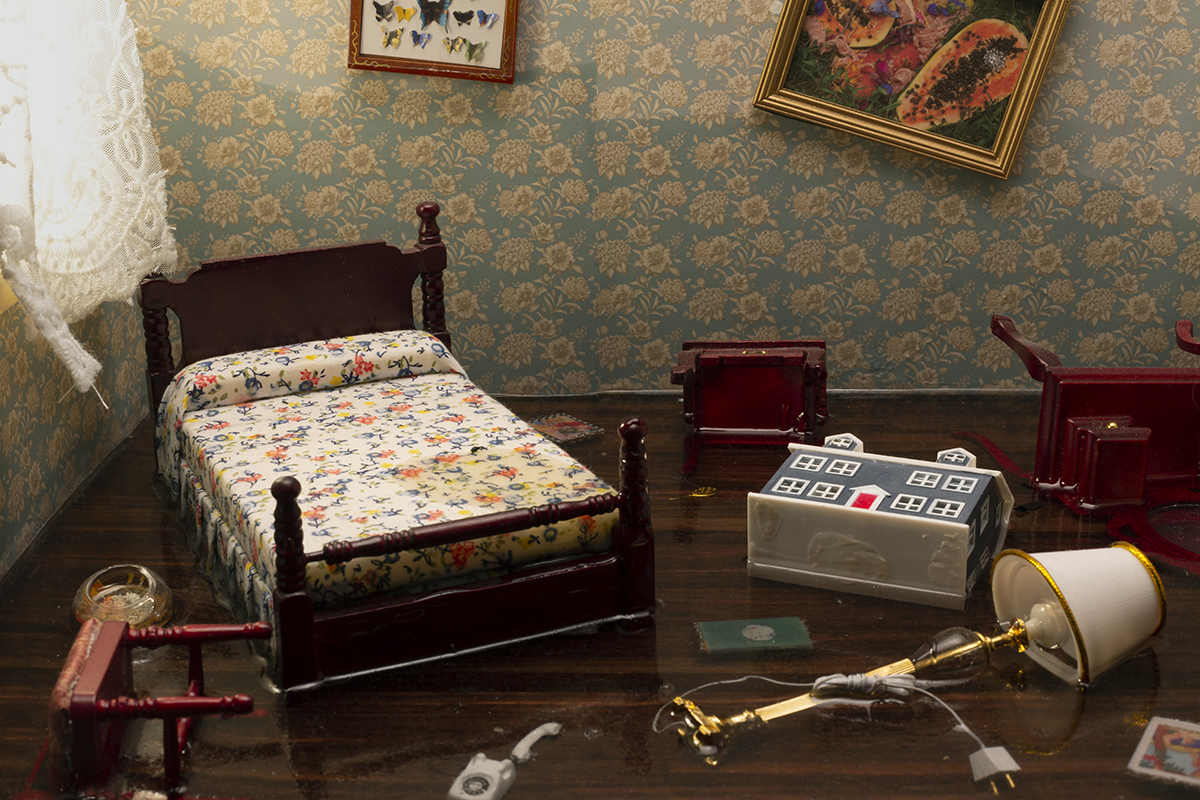 A destroyed miniature bedroom