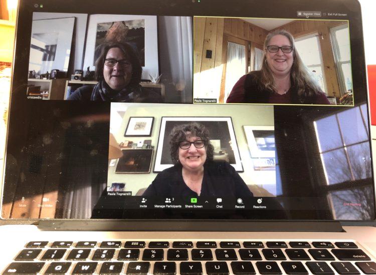 People having virtual meeting