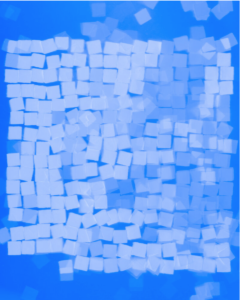 cyanotype image with origami paper squares