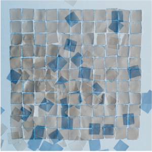 cyanotype with origami sqaures photograph