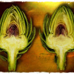two halved artichokes
