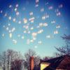 lights reflected on window of sky