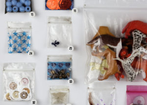 close up of bag contents