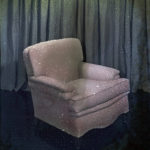 chair in front of curtain