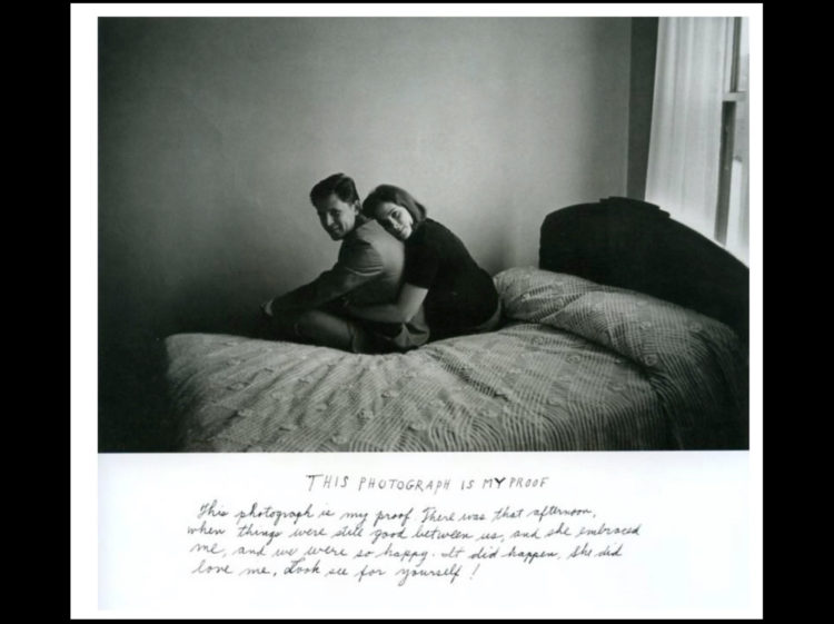 Man and woman on a bed with words underneath their picture
