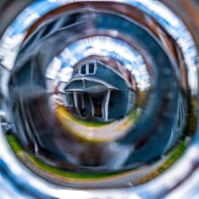 House through distorted lens