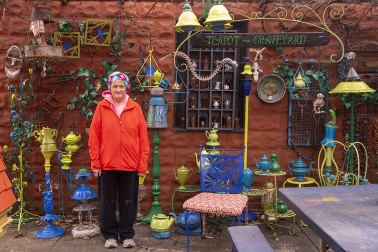 woman with colorful house decorations