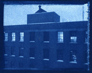 factory building printed using cyanotype