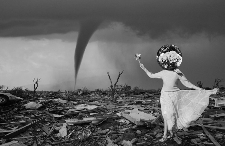 abstract woman in a dress with mirror, flowers, and tornado