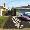 pink car in driveway