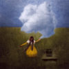 woman holding clouds