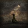 woman looking at moon
