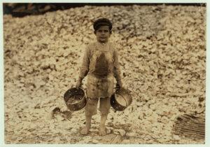 child shrimp picker by Lewis Hine